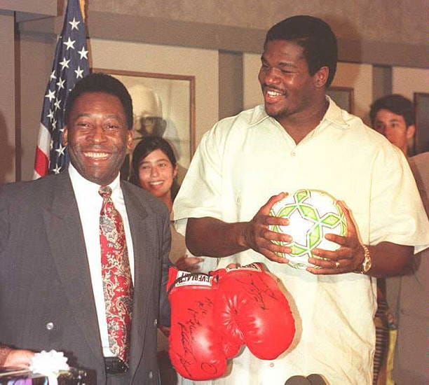 Heavyweight Champion Riddick Bowe and and soccer legend Pele