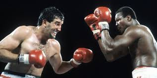 Gerry Cooney and Larry Holmes in their great 1982 fight.