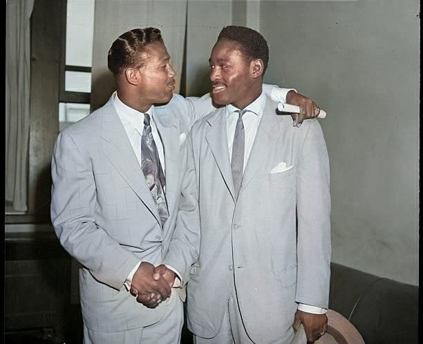 8-2-1951-New York, NY- When Sugar Ray Robinson, who lost his title to British Randy Turpin, and Ezzard Charles,