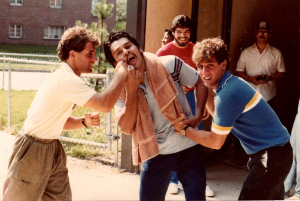 Roberto Duran and The Boxing Twins in 1982 at Larry Holmes' Boxing Gym.
