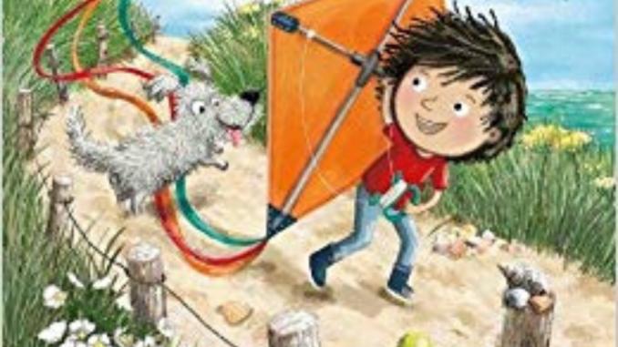 Little boy cartoon with a kite
