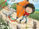 Little boy cartoon with a kite