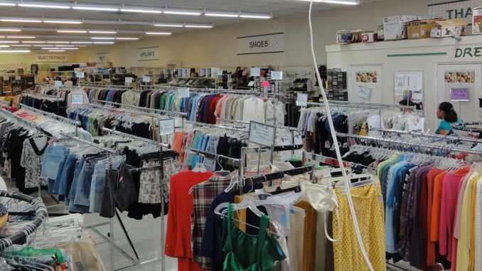 picture of clothes in a thrift store