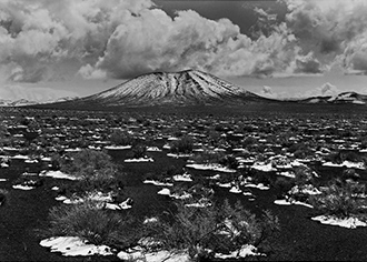 "Snow On Cinders And Cinder Cone, Nevada, copyright 1962 Philip Hyde. Publicity photograph for the 2015 SFO Museum exhibit, ""Philip Hyde: Mountains And Deserts."""