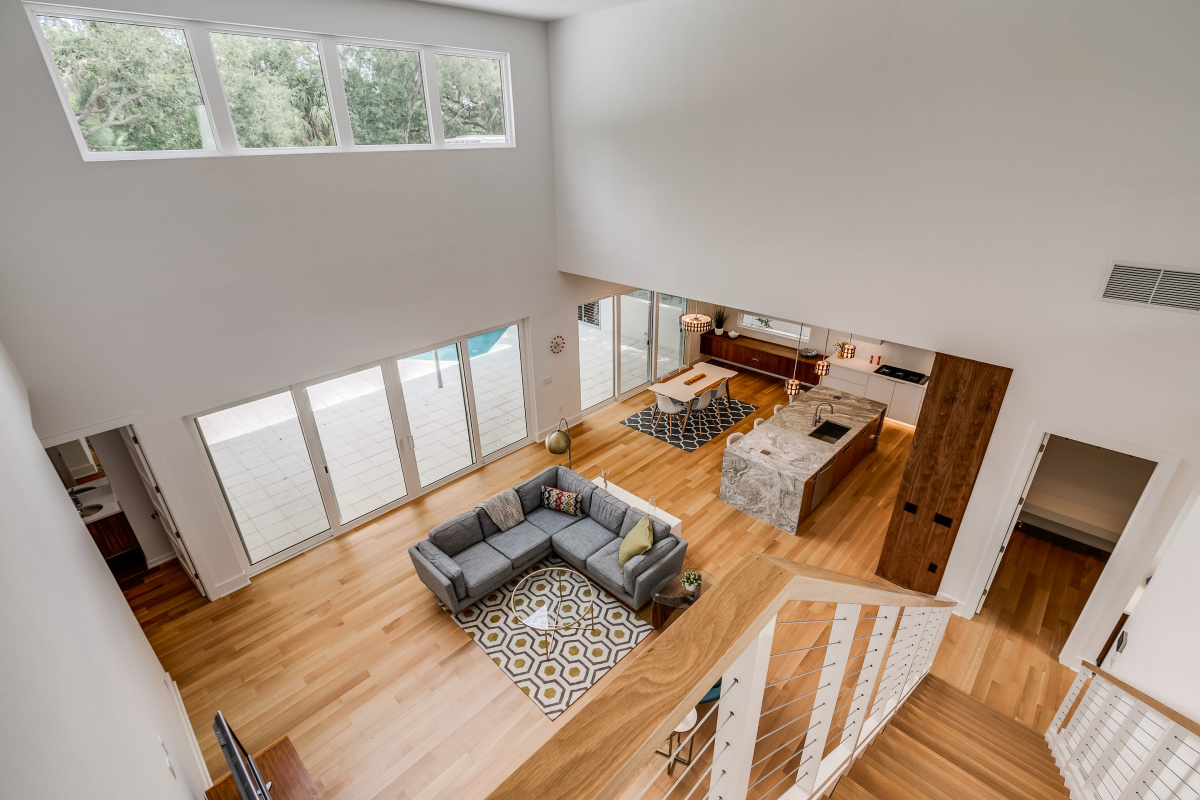 View-of-Great-Room-from-Catwalk-21-foot-ceilings