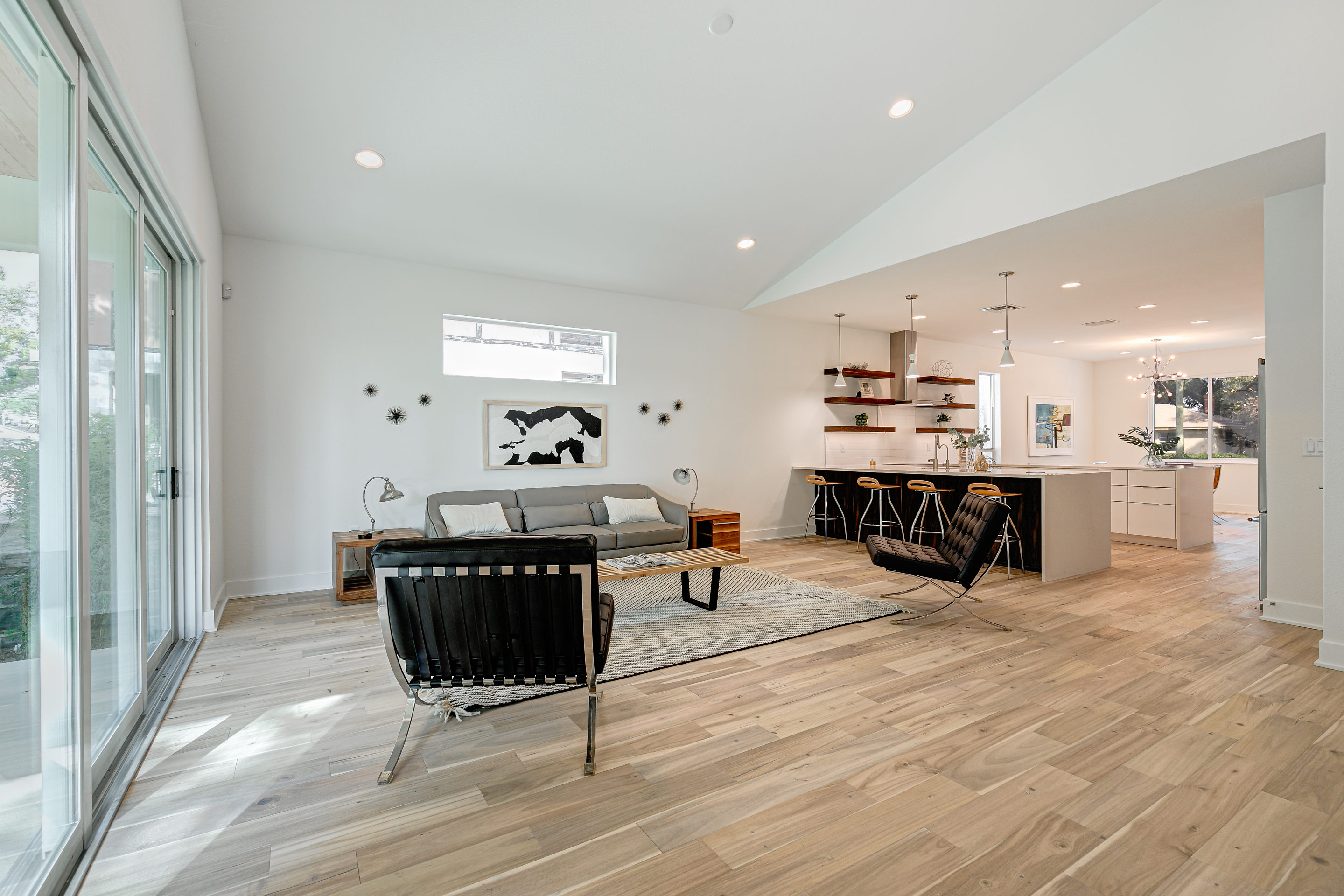 Living Room that flows into Kitchen