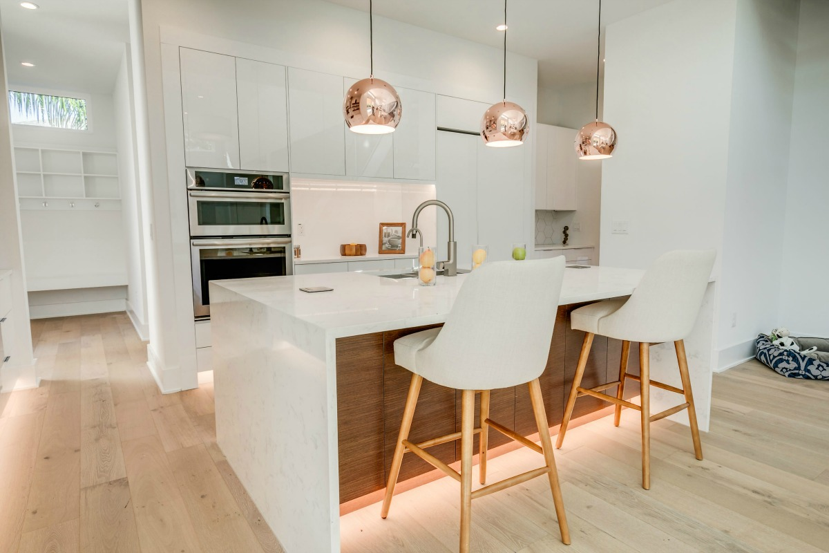 Copper Pendant Lighting on Kitchen Island at 438 East Davis in South Tampa