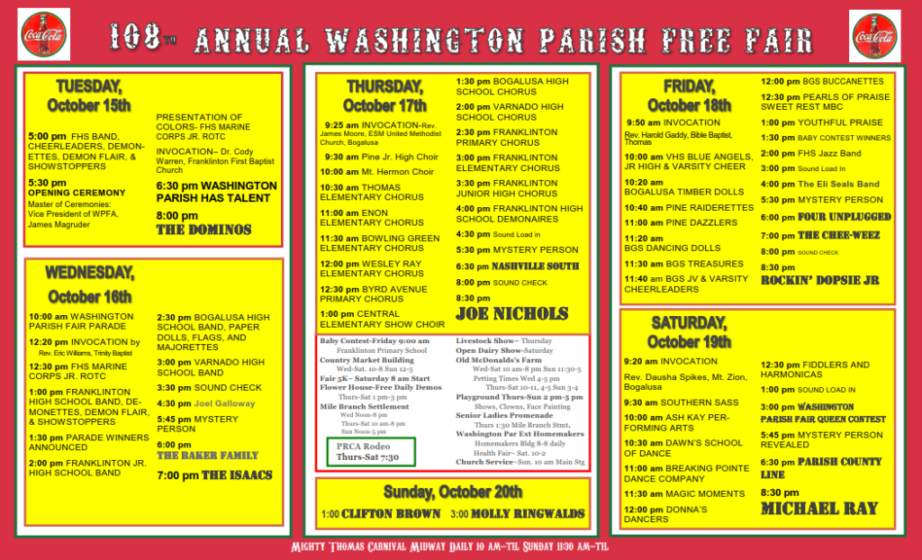 washington parish free fair 2016 stage schedule