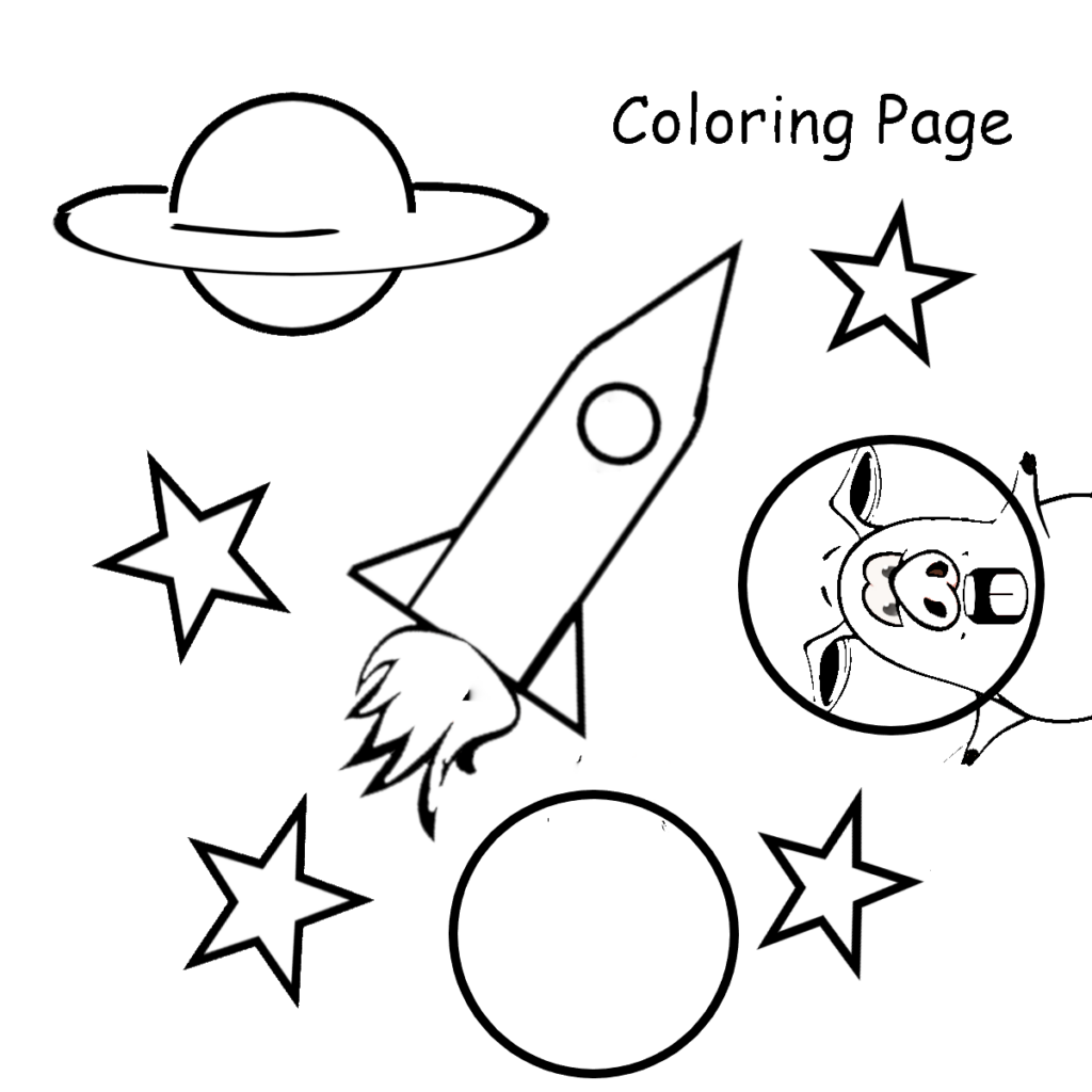 Coloring Page Space and Planets