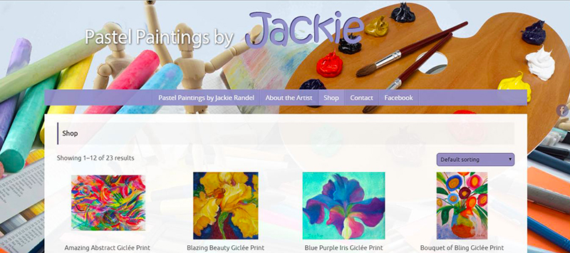WordPress-WooCommerce shopping website for jackietheartist.com - developed by Patricia Gill saidthespider.net
