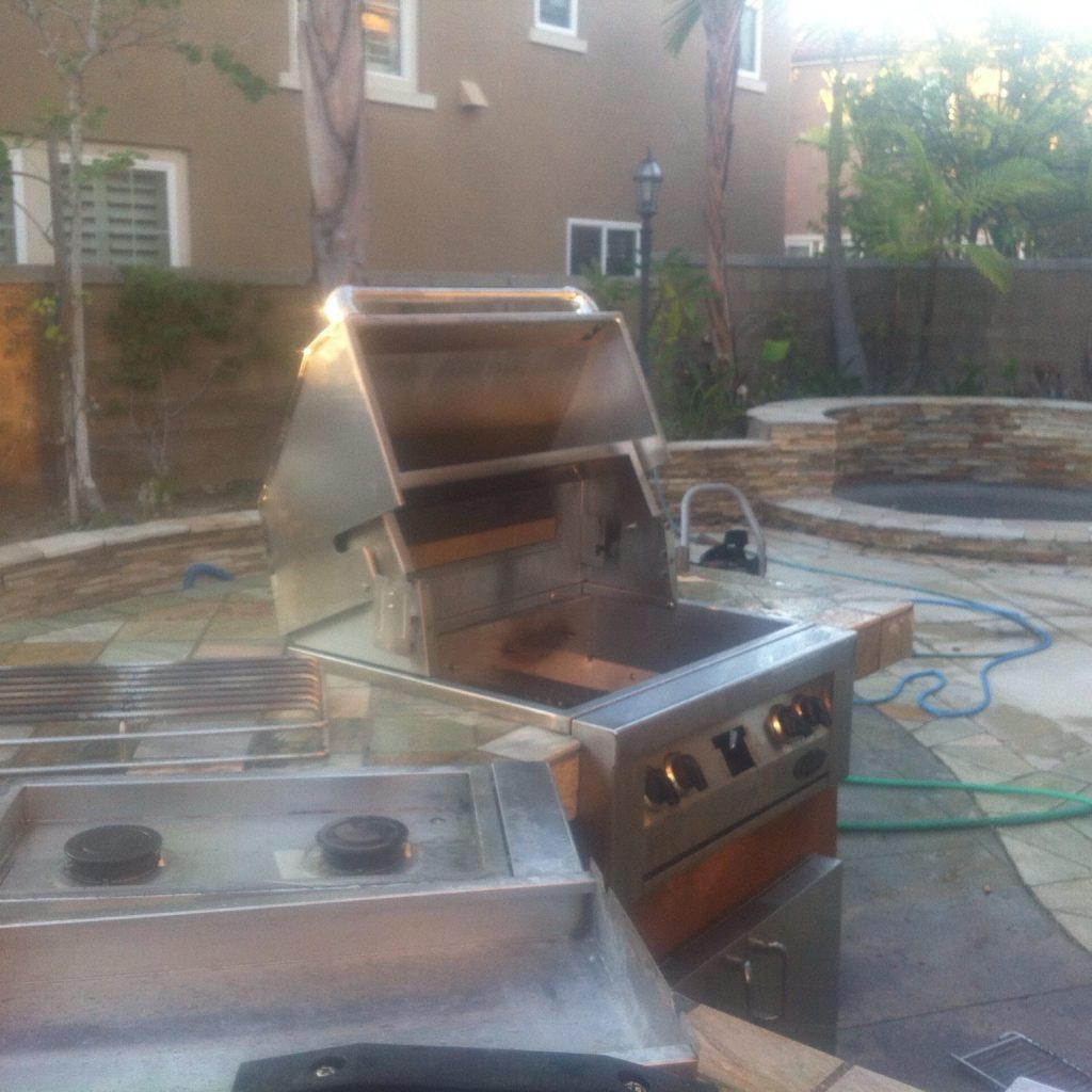 pictured is a bbq repair in irvine & a bbq cleaning done by bbq restorations