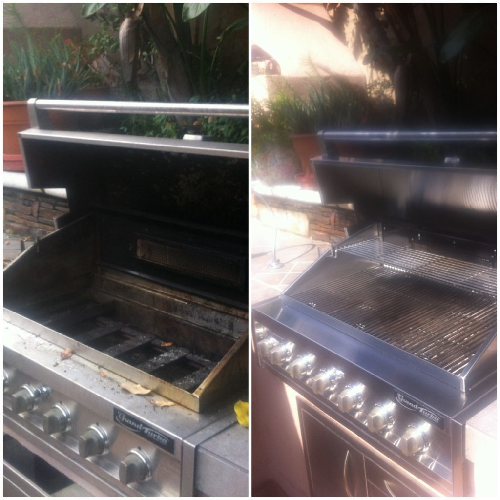 pictured is a turbo bbq restoration before and after picture