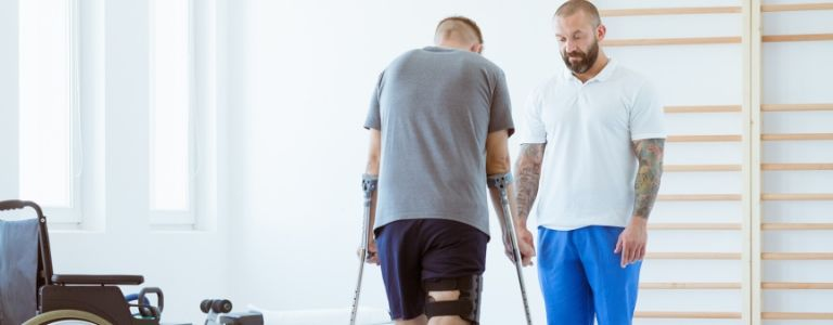man on crutches personal injury fargo