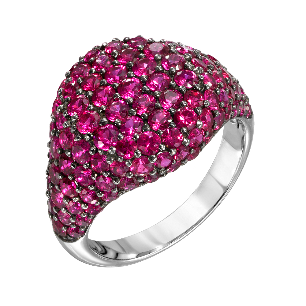 Pave Pinky Ring With Rubies