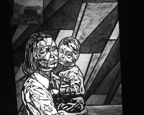 stained glass picture of mother and child