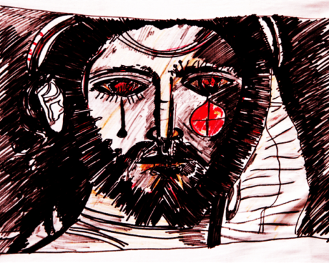 drawing of Jesus weeping