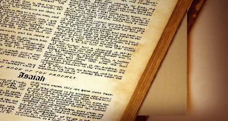photo of the beginning of isaiah in the Bible