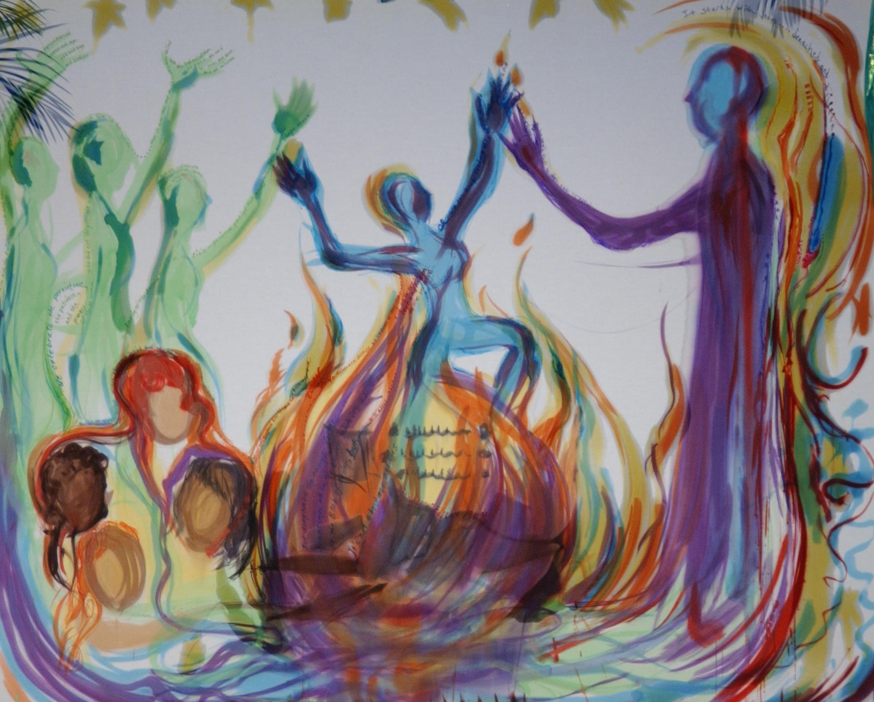painting depicting dancers around or in a flame