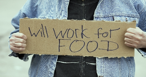 """sign that reads """"will work for food"""""""