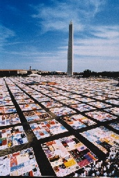 photo of aids quilts in front of Washington Monument