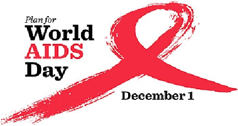 graphic of AIDS ribbon with words saying Plan for World AIDS Day