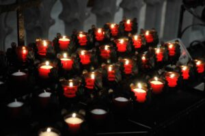 photo of red votive candles