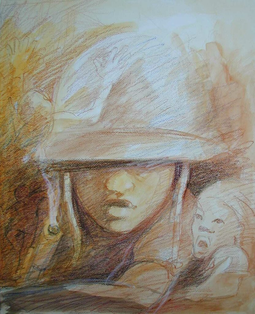 drawing of child soldier