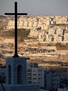 photo of a cross overlooking bethlehem