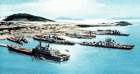 drawing of a naval base
