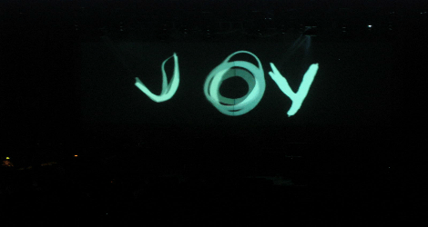 electric graphic of the word joy