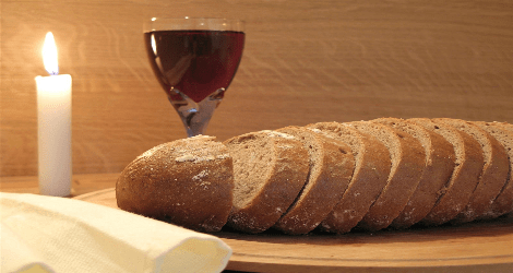 bread, wine, and candle for communion