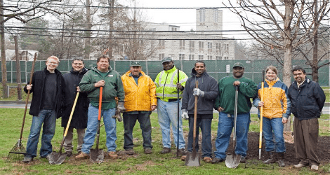 Princeton Seminary grounds crew and students