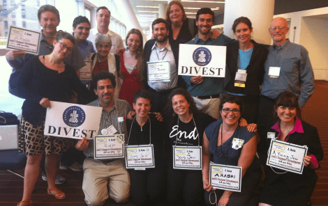 Interfaith delegation including young Jews and rabbis with Jewish Voice for Peace who advocated for boycott and divestment at the Presbyterian General Assembly.