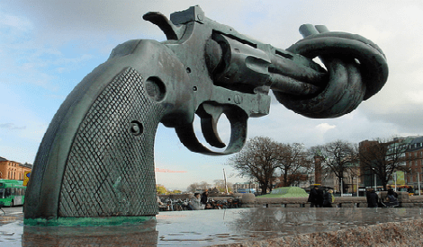 Twisted Gun Statue Outside the United Nations