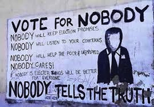 Graffiti voicing frustration with electoral politics