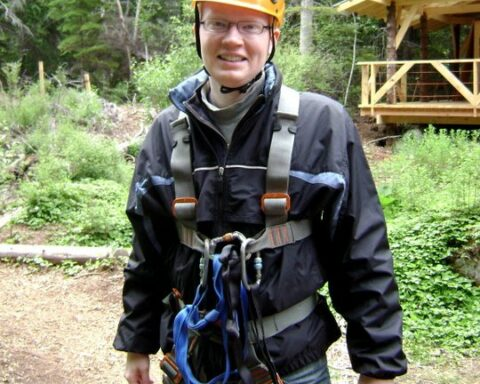 patrick heery in ziplining gear
