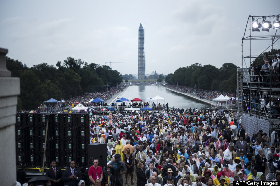 """2013 March on Washington to commemorate the 50th anniversary of the US civil rights era March on Washington where Martin Luther King Jr. delivered his """"I Have a Dream Speech"""". Photo Credit BRENDAN SMIALOWSKI/AFP/Getty Images)"""