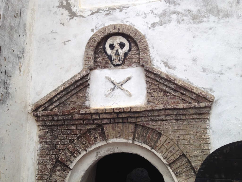 Door to the dungeon where recalcitrant men were kept without food and water. Photo Credit: Janet Guyer
