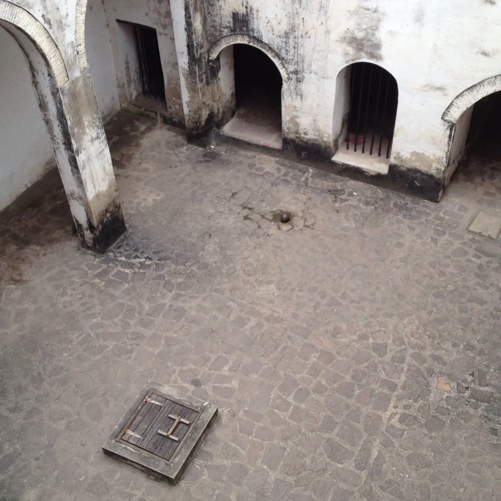 Governor's-eye-view of the women's dungeon from the walkway.
