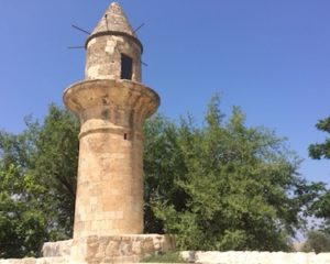 The minaret from Hittin's mosque was left standing during the 1948 war. According to James, Israel took special care to leave structures standing out of respect for religion.