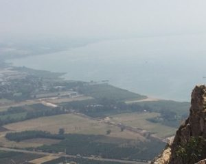 Even through the fog, the view of the Sea of Galilee from the top of the Cliff of Arbel is breathtaking.