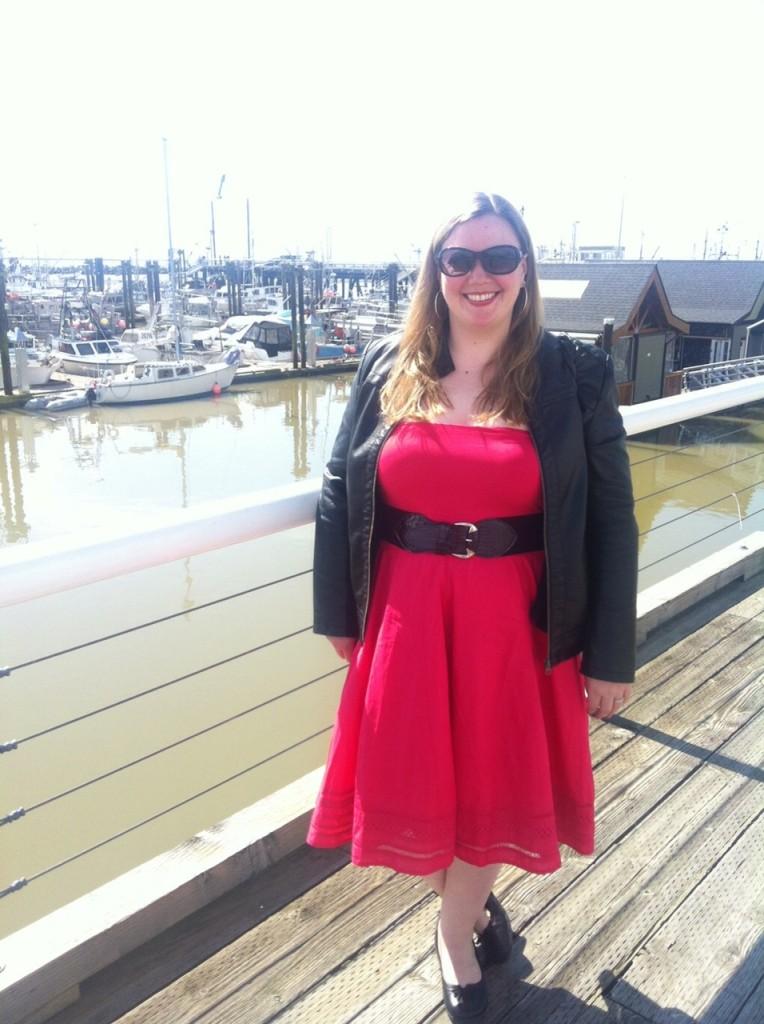 Dress, Jacket - Ricki's Belt - Laura Plus Shoes - Clarks via Ronson