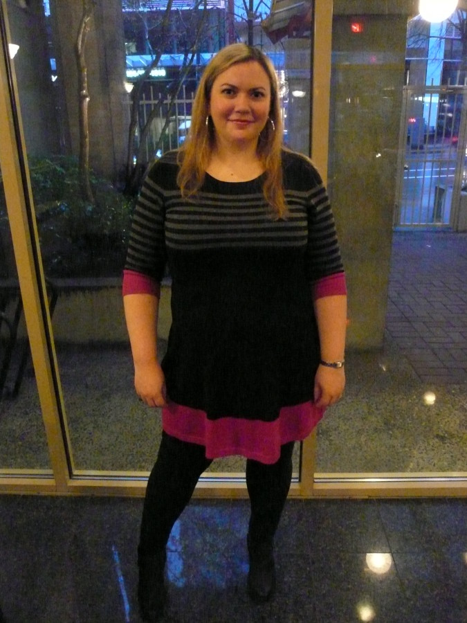 Dress - Eliza J via Macy's Leggings - Addition Elle Shoes - Clarks via Macy's