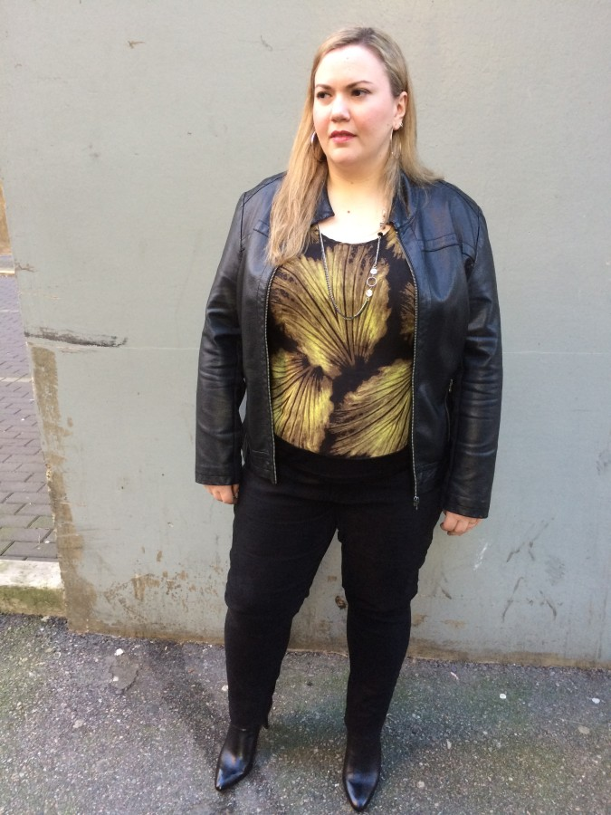 Top - Addition Elle Jacket - Ricki's Jeans - Nygard via Lucy Clothing Booties - Franco Sarto via The Bay