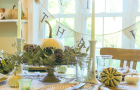 Green and White Thanksgiving Table