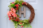peach and green spring wreath