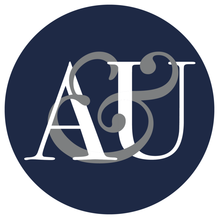 AU Law Logo, a letter A and a letter U with an & wrapping through and around them