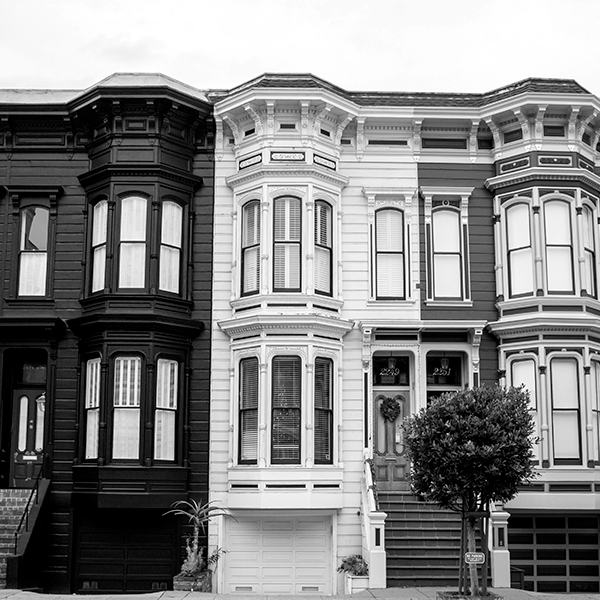 Row houses in black and white.