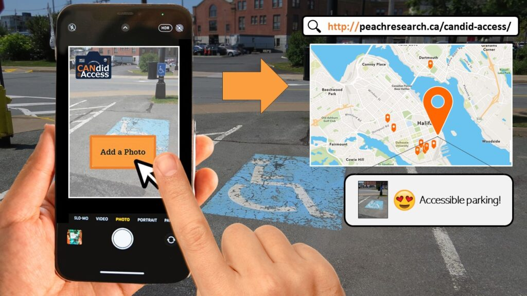 Altered image of someone using a smartphone to take a photo of an outdoor parking stall and tapping button on the screen to the add the photo to an online map.