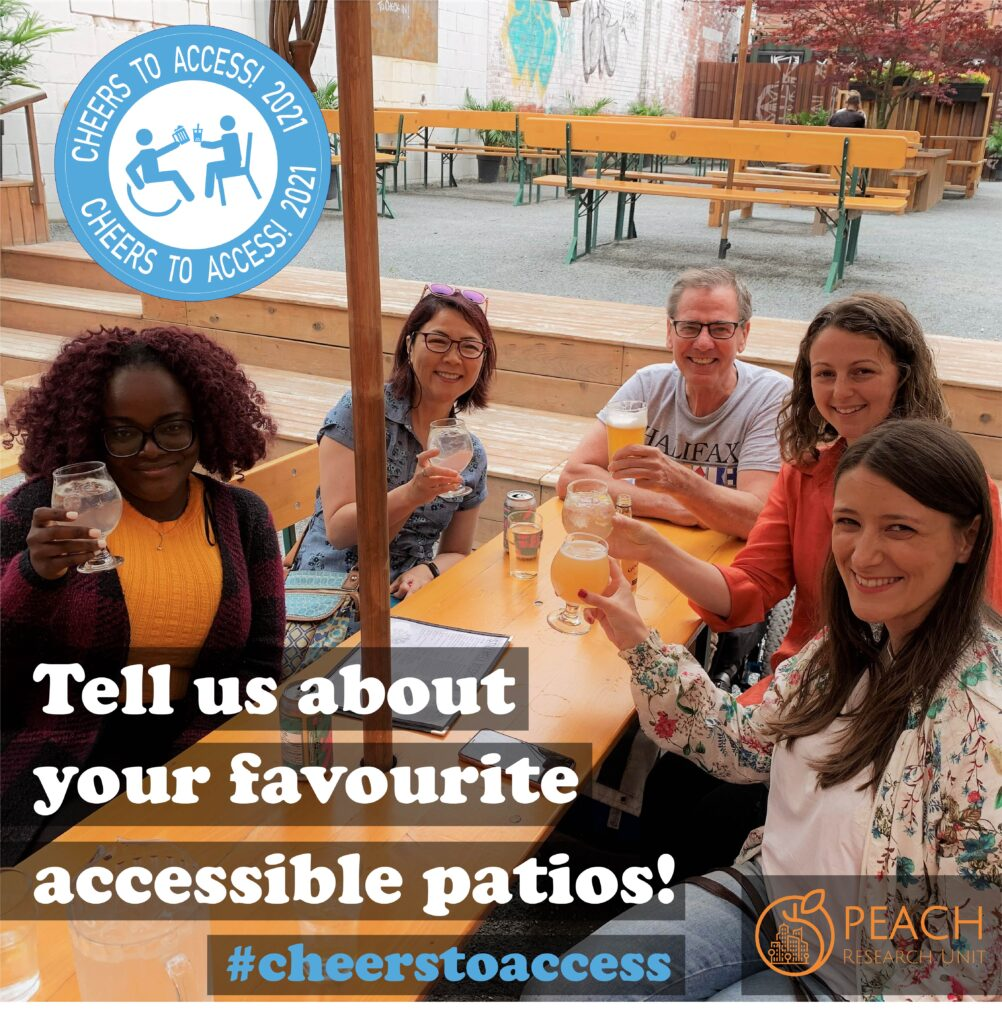 Five people sit around a patio table and raise a glass to cheers.